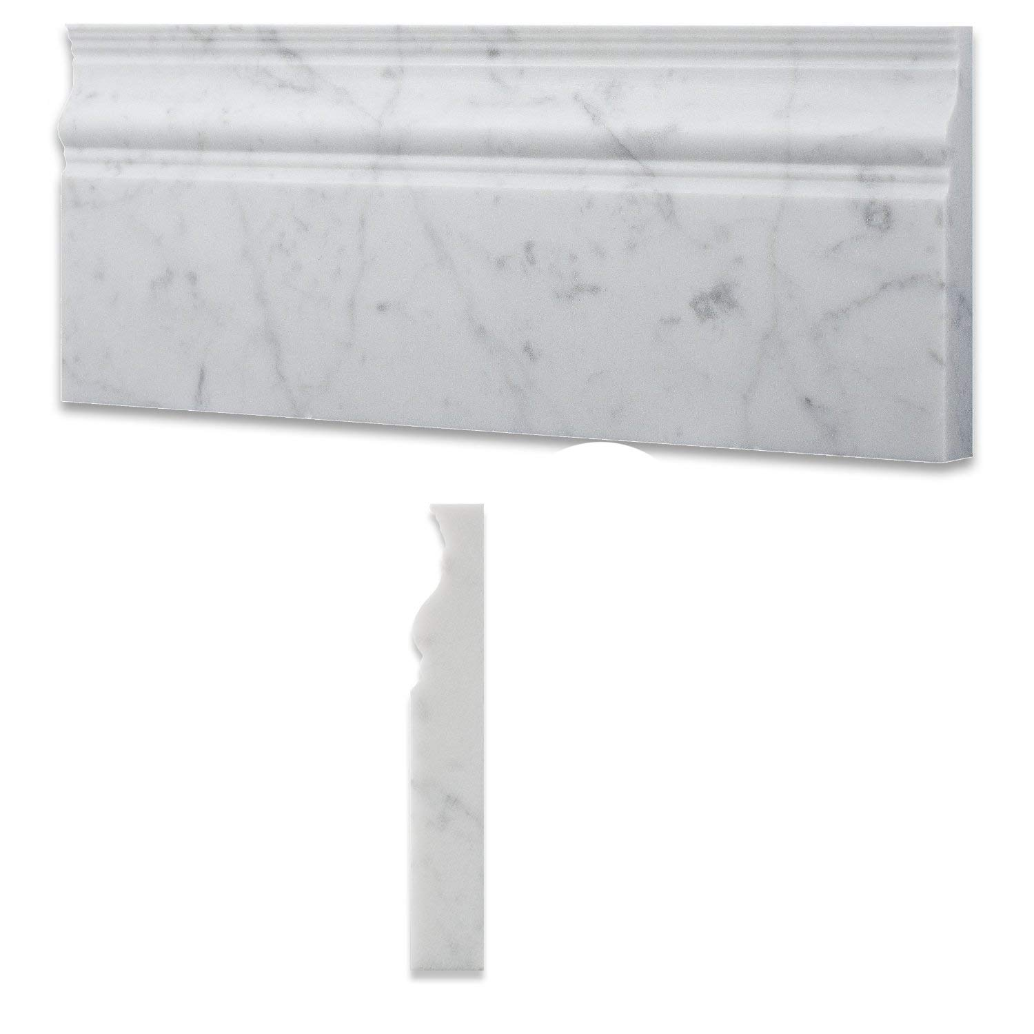 Italian Carrara White Marble Polished 5 X 12 Baseboard - Box of 5 Pcs. by Oracle Moldings