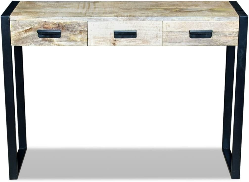 vidaXL Tavolino Tavolo Consolle con 3 Cassetti 110x35x78 cm Legno di Mango