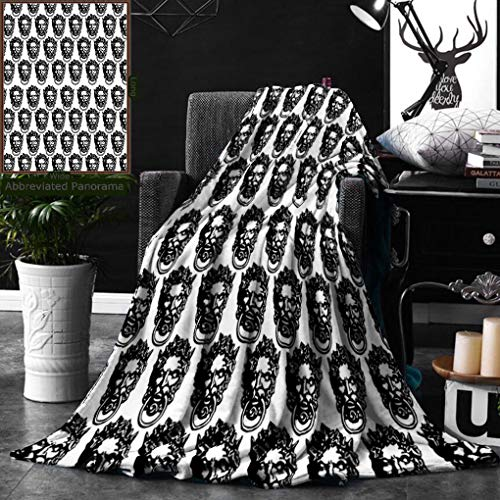 Unique Custom Digital Print Flannel Blankets Black And White Monochrome Medieval Knocker Old Antique Figure Head Cartouche Gothic T Super Soft Blanketry for Bed Couch, Twin Size 60 x 70 Inches ()