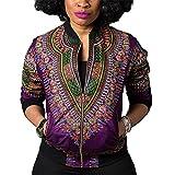 Women'sCasual African Print Zipper Dashiki Short Bomber Jacket Coat with Pockets Purple XL