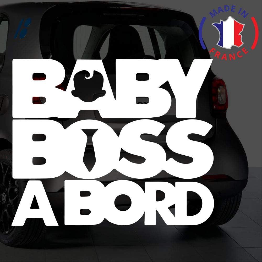 Anakiss Sticker b/éb/é /à bord pour voiture Baby Boss /à Bord 20 cm Blanc
