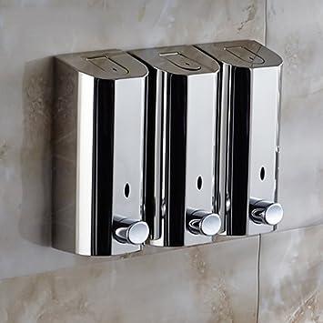 Qin presupuesto ducha Loción Dispensador de Baño Acero Inoxidable en la pared manual doble cabeza Gel