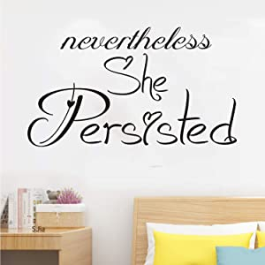 """VODOE Wall Decals for Living Room, Office Wall Decals, Work Words Girls Female Apartment Inspirational Motivational Quote Bedroom Women Vinyl Art Home Decor Stickers Nevertheless She Persisted 28""""x16"""""""