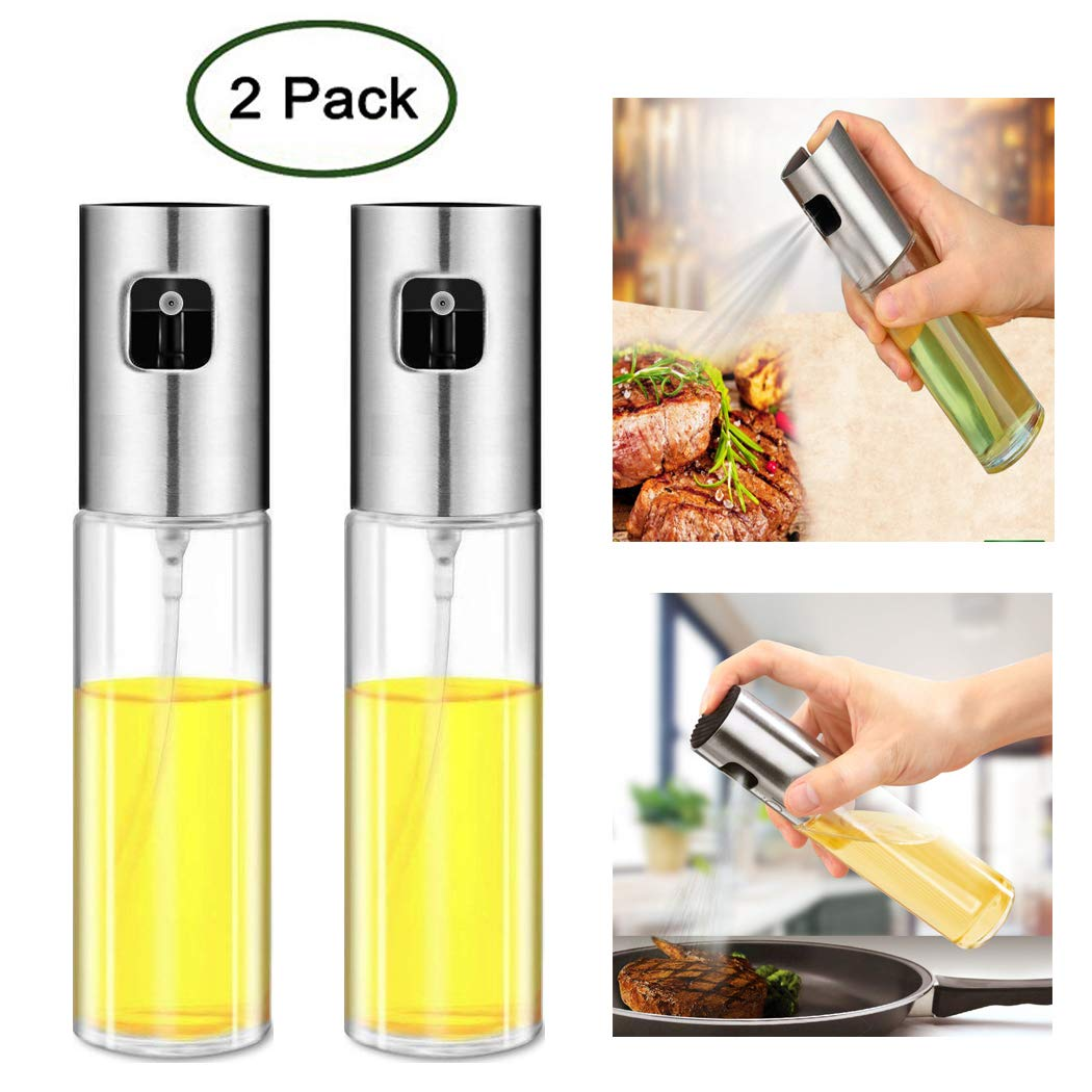 Olive Oil Sprayer Vinegar Sprayer DispenserBottle - Ideal Portable Seasoning Spice Jar and Kitchenware Tools for Outdoor BBQ/Travel Cooking/Daily Kitchen Using (2 Pack - 3.5 oz/100 ml)