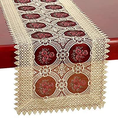 Simhomsen Small Vintage Gold Burgundy Lace Table Runner Dresser Scarves Embroidered Rectangle 16 × 48 Inch - Can be customized to runners and tablecloth of any size any shape Embroidered reminiscent of pansies A beautiful burgundy insert; Rectangle - table-runners, kitchen-dining-room-table-linens, kitchen-dining-room - 61iBABMeDUL. SS400  -