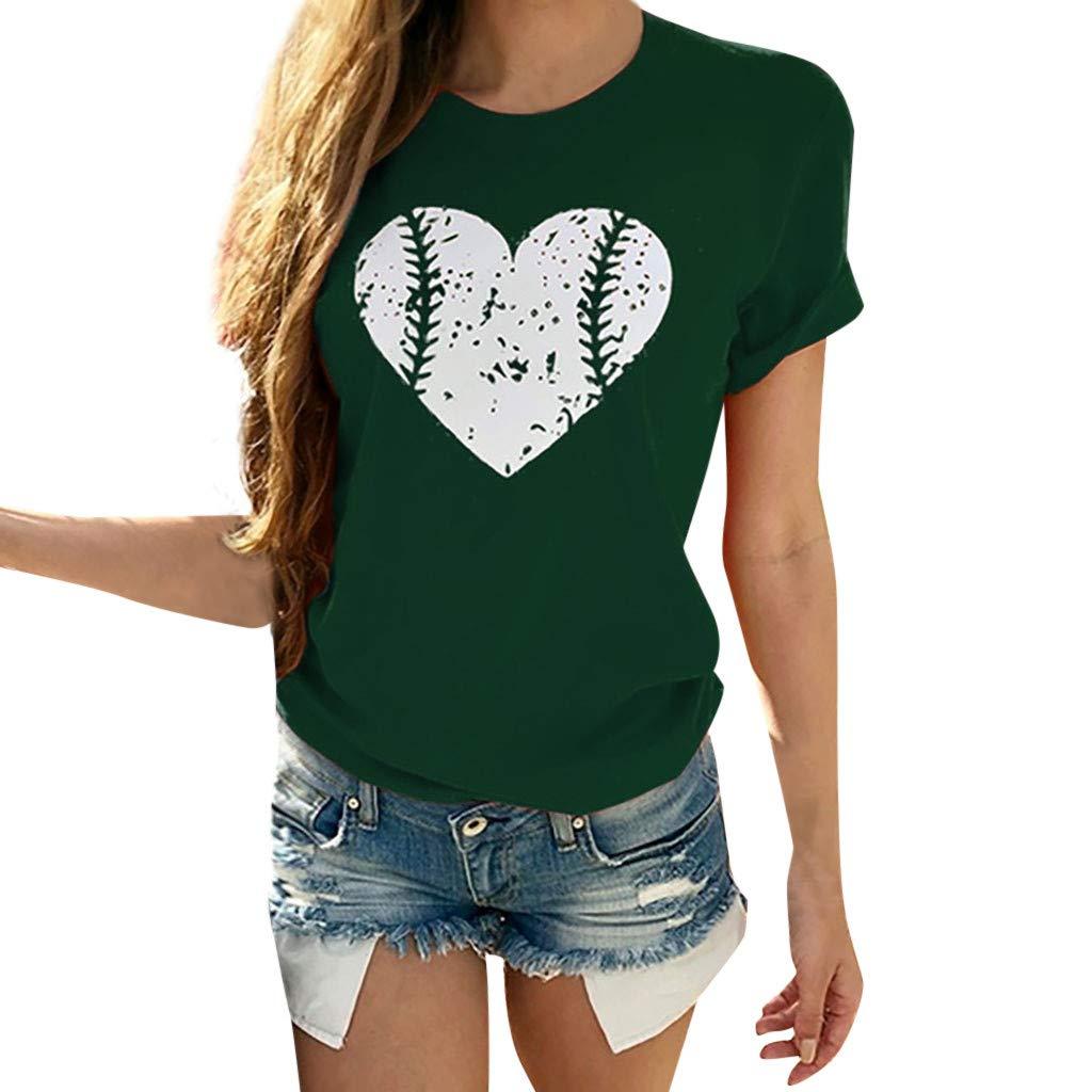 Usstore  Women's Normal T-Shirt Short Sleeve Hearted Print Summer Casual Fashion O-Neck Blouse Shirt School Tee (XXXL, Green)