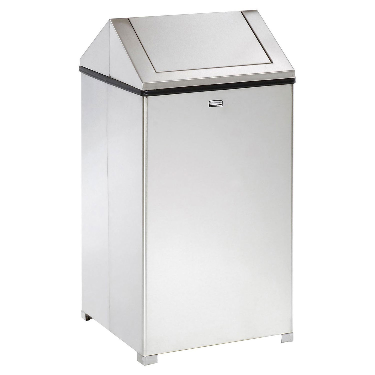Rubbermaid Commercial WasteMaster Trash Can with Retainer Bands, 40 Gallon, Stainless Steel, FGT1940SSRB