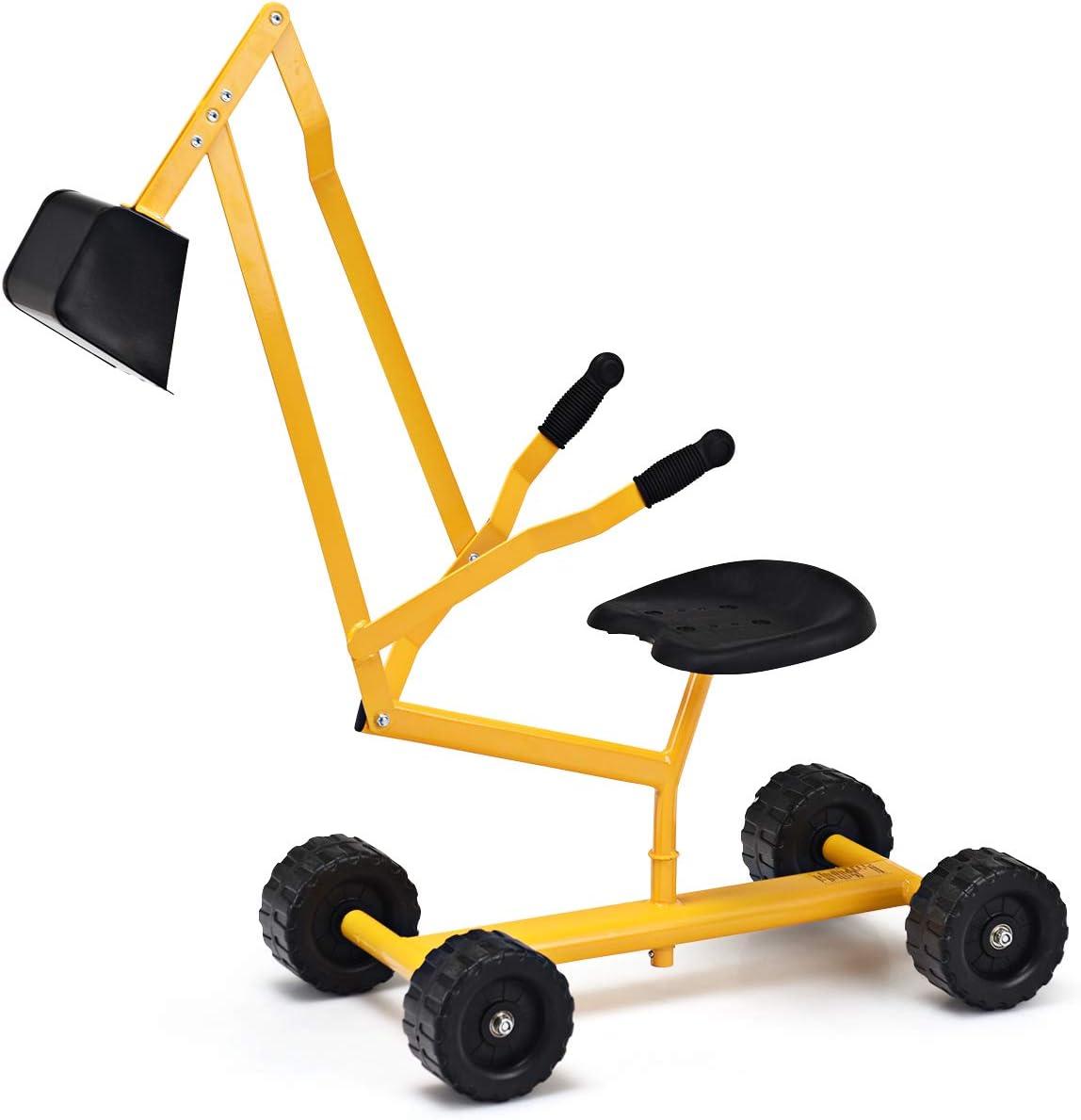 Outdoor Sandbox Toy Costzon Kids Ride-on Sand Digger Heavy Duty Steel Digging Scooper Excavator Crane