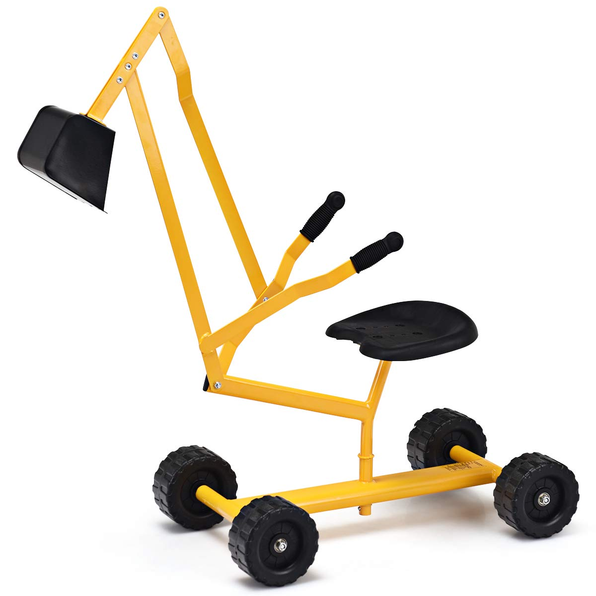 Costzon 8'' Kids Ride-on Sand Digger, Outdoor Sandbox Toy, Heavy Duty Steel Digging Scooper Excavator Crane with 4 Wheels