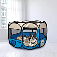 PaWz Pet Soft Playpen Dog Cat Puppy Play Round Crate Cage Tent Portable L Blue Blue L