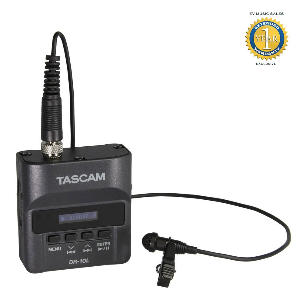 Tascam DR-10L Digital Audio Recorder with Lavalier Microphone + 1 Year Free Extended Warranty