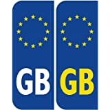 HusDow 4pcs Euro GB Number Plate Stickers Self Adhesive for Car Van,Size 104mm*40mm