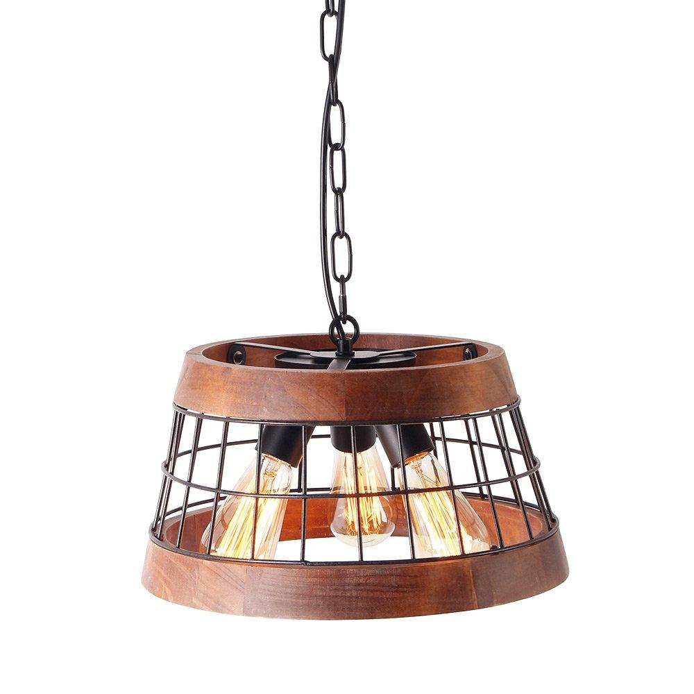 Anmytek wood and metal chandelier iron net frame rustic chandelier lighting circular metal pendant light retro ceiling light or edison vintage hanging light