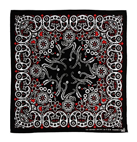 Schwarz Weiß Rot Muster Kopftuch Bandana Halstuch