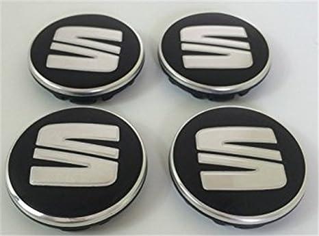 Set of Four Alloy Wheels centro HUB Caps 55 mm cromo Silver Grey Logo Black covers