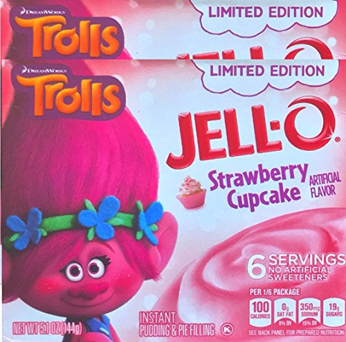 Jell-O Trolls Limited Edition Strawberry Cupcake Gelatin