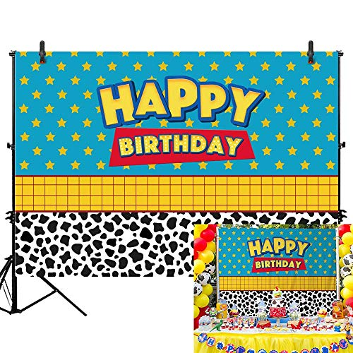 Allenjoy 7x5ft Happy Birthday Toy Backdrop Boys Girls Kids Cartoon Story Banner Happy 1st First Birthday Party Photography Background for Children Newborn Baby Cake Dessert Table Decors Photo Booth