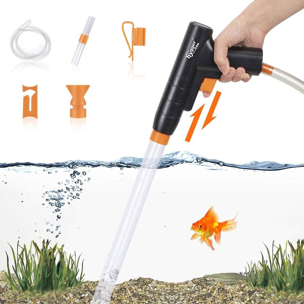 hygger Multifunzione Acquario Ghiaia Addetto alle Pulizie,Manuale Rapidamente Changer Acqua e Lavaggio di Sabbia Kit,Sifone Aspirapolvere con Morsetto del Controller del Tubo Flessibile dell'Acqua