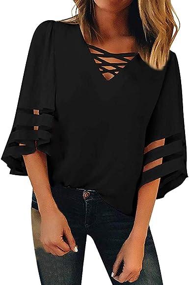 Winkey Blusa de malla con cuello de pico para mujer – Camisa suelta casual de 3/4 de manga para mujer.: Amazon.es: Ropa y accesorios