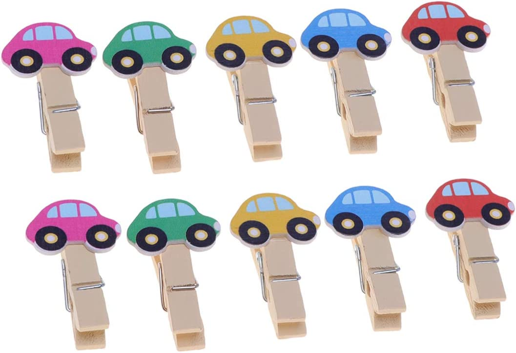 10pcs Mixed Color Car Cartoon Wood Clips Photo Paper Pegs Clothespin Craft