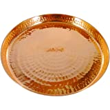AsiaCraft Indian Dinnerware Pure Copper Thali Plate, Diameter 12 Inch - Diwali Gifts for Corporates
