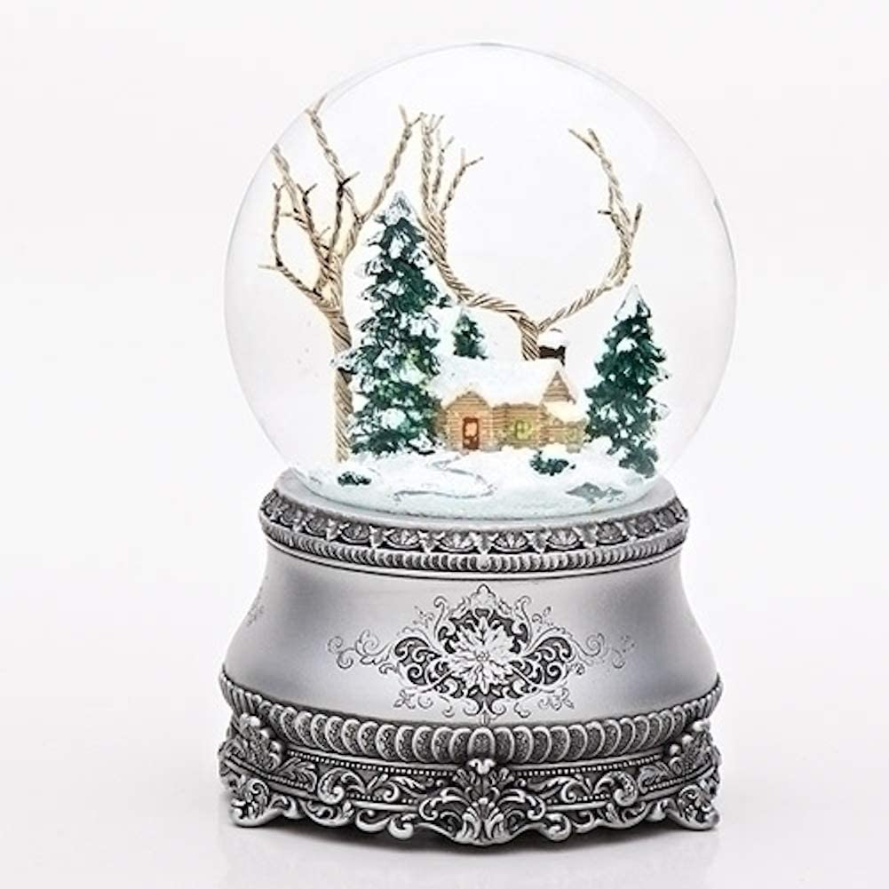 "Roman 5.5"" Cottage with Tree Glitter Silver Base 100mm Dome Plays I'll Be Home for Christmas"
