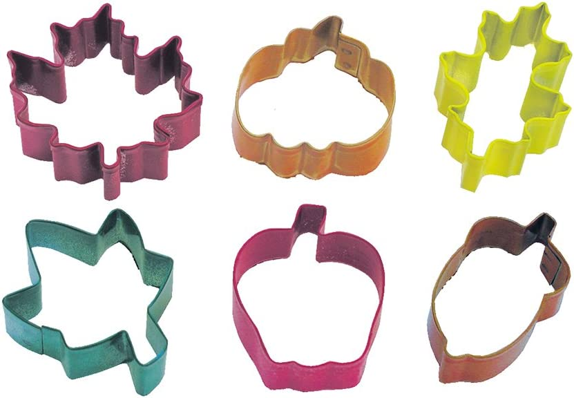 R&M International Mini Autumn Leaf Cookie Cutters, Apple, Pumpkin, Acorn, Oak, Ivy, Maple, 6-Piece Set