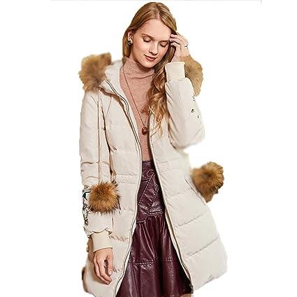 1cafa964574f7 Chaquetas Mujer Ropa de Abrigo Mujer Blanca sección Larga y Gruesa Suelta  de Moda 90