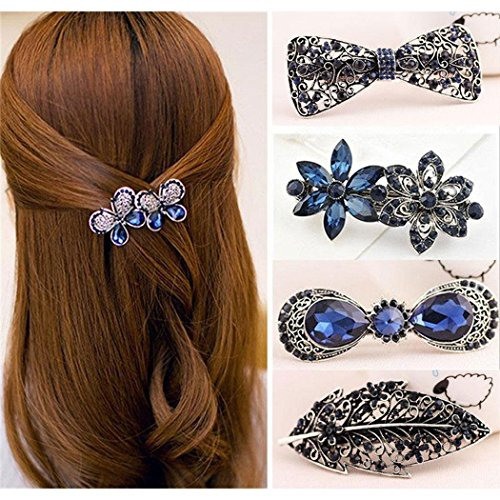 Kikole Crystal Rhinestones Bowknot Hair Clips Vintage Floral Butterfly Hair Pin Hair Barrettes Hair Accessories for Womens and Girls