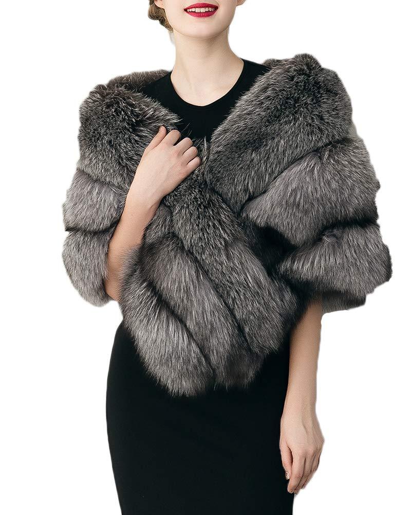 Runyue Donna Invernale Pelliccia Faux Scialle Coprispalle Giacca Sciarpa Wrap Cape Coat Shawls Grigio OneSize