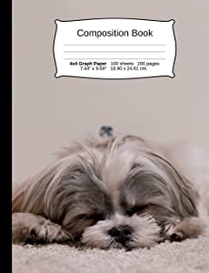 """Dog Composition Notebook, 4x4 Graph Paper: 4x4 Quad Rule Composition Book, Student Exercise Science Math Grid, 200 pages, 7.44"""" x 9.69"""" (Dog Series)"""