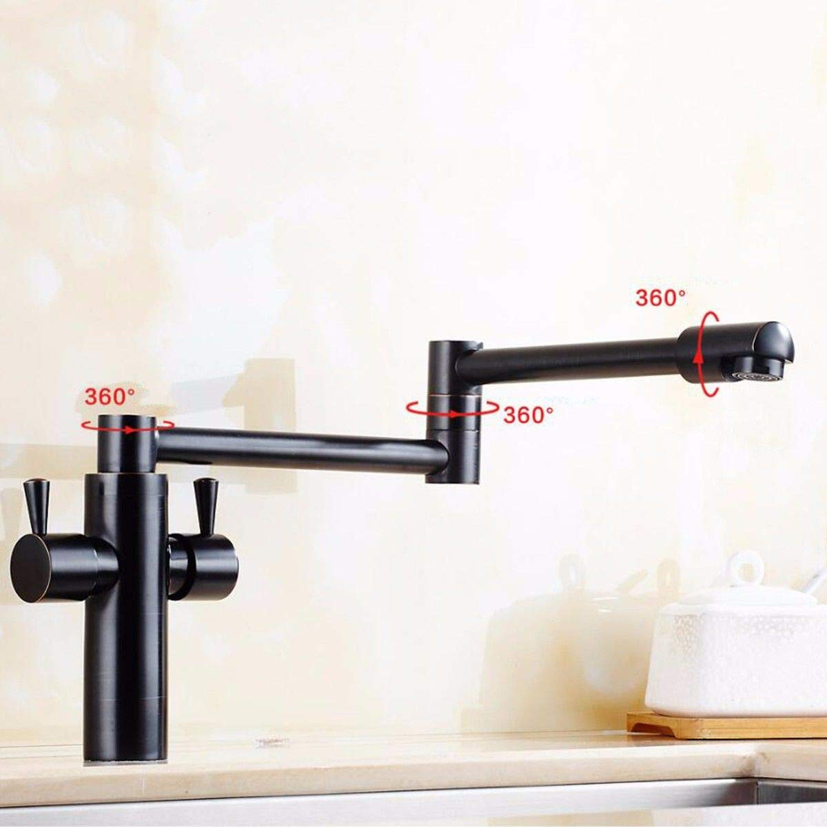B MulFaucet Foldable Kitchen hot and Cold Faucet golden Antique Black Copper redary Sink Sink Faucet Stretch Stretch C