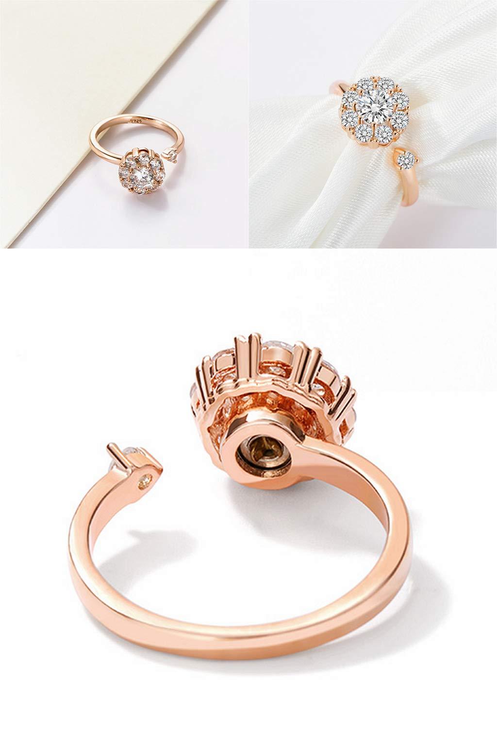 SEWOR Elegant Rotating Rings Adjustable Spinner Diamond Delicate Snowflake Ring for Women Girls, Anti Anxiety,Autism (Rose Gold)