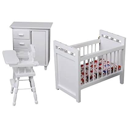 Fityle 3Pcs Doll House Furniture Miniature Baby Bedroom Nursery Furniture  Sets 1:12