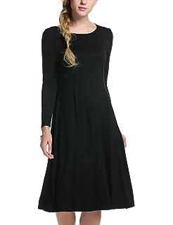 Meaneor Moda Mujer Bolsillo Manga Larga Casual Loose Camiseta Vestido de Fiesta de Noche