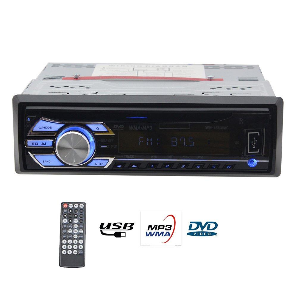 Eincar Single 1 din Car Audio Radio Stereo In Dash 12V Fm Receiver with CD DVD Mp3 Player & USB SD Input AUX Receiver + Remote Control