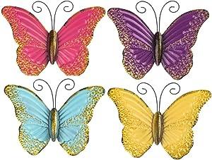 Metal Butterfly Wall Art use as Outdoor Garden Butterfly Wall Art, Set of 4 Pastel Wall Art Outdoor/Indoor Garden Butterflies and Wall Décor Sculptures (Pastel)
