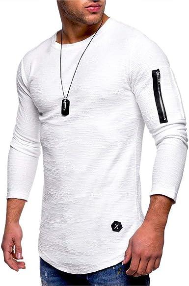 Camiseta De Manga Larga con Redondo Cuello De Manga Modernas Casual Larga para Hombre con Camisa Ajustada Y Básica Camiseta Básica Blusa Informal Color Puro: Amazon.es: Ropa y accesorios