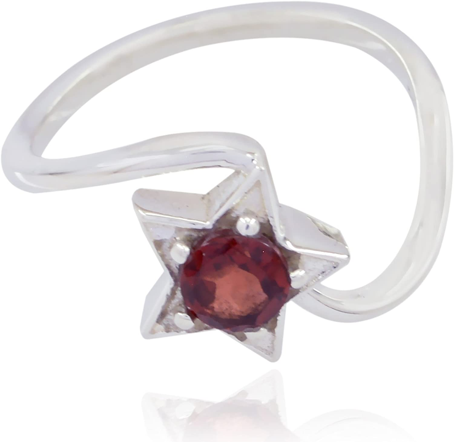 Solid Silver Red Garnet Natural Gemstone Ring Natural Gemstone Round Faceted Garnet Ring Faishon Jewelry Greatest Selling Shops Gift for Easter Sunday fine Rings
