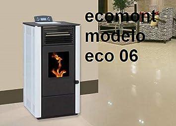 Estufa DE Pellet Modelo Eco 06 9 KW POTNECIA Maxima Colores Negra, Blanca Y Burdeos: Amazon.es: Hogar
