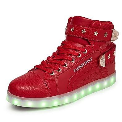 O&N LED Schuh USB Aufladen 7 Farbe Leuchtend SportSchuhe Sneakers High-Top Turnschuhe Freizeit Schuhe fuer Unisex-Erwachsene Herren Damen Kinder, Größe 40 EU, Farbe Weiß