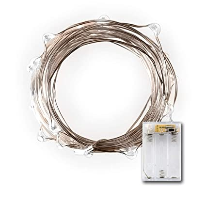 amazon com: micro led 20 cold white lights with timer, battery operated on  7 87ft long silver color ultra thin string wire: home & kitchen