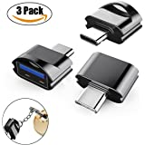 USB C Adapter to USB 3.0 with OTG (3 Pack), High Speed Mini USB Type C Adapter with Aluminum Body and Keychain for New MacBook, MacBook Pro 2016, ChromeBook Pixel and More Devices with USB Type C Port (Black)
