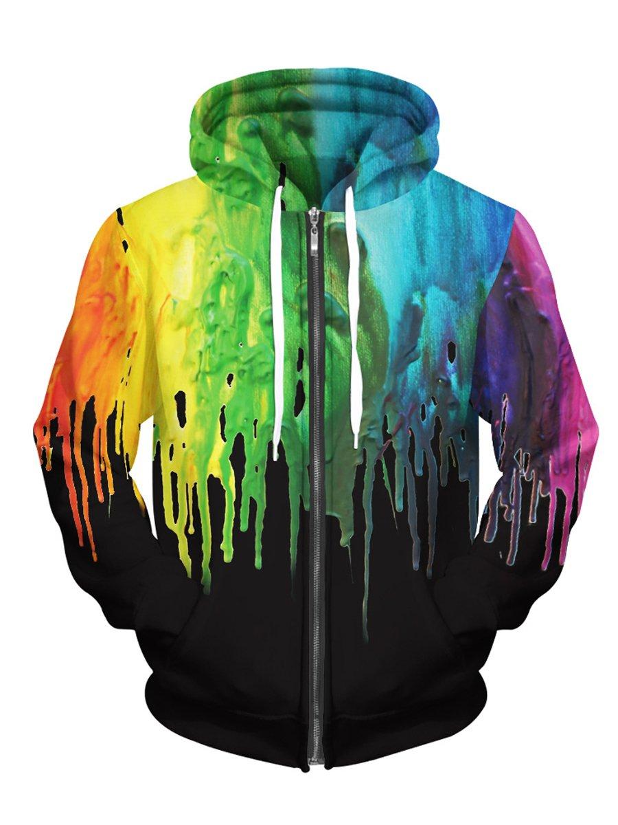 Royalove Unisex Stylish Print Hip Pop Plus Size Full-Zip Casual Sweatshirt Jacket Outwear colorful Black 3XL