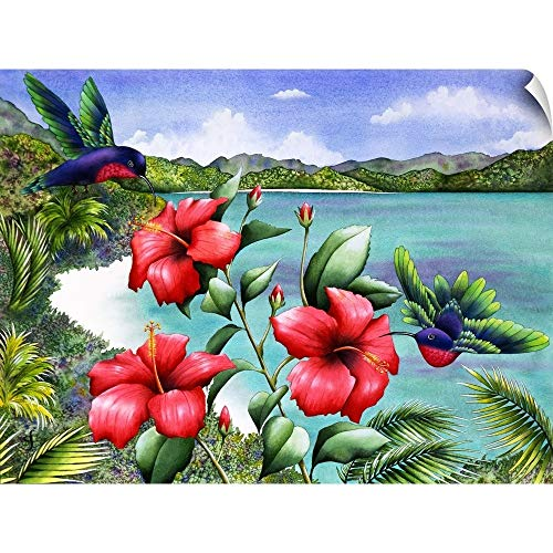 CANVAS ON DEMAND Hibiscus hummers Wall Peel Art Print, 48