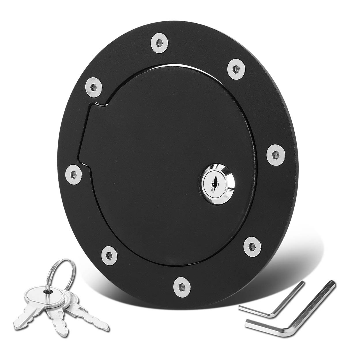 For Ford Super Duty/Expedition/Excursion/Lincoln Navigator Fuel Gas Tank Door with Lock & Keys (Black Coated) Auto Dynasty