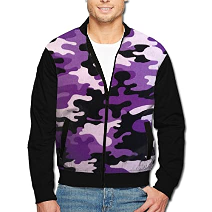 16a8e4a1a826e Image Unavailable. Image not available for. Color: Men's Collar Jacket  Purple Camouflage Zipper Jacket Baseball Jacket Zipper Jacket Men's Long  Sleeve