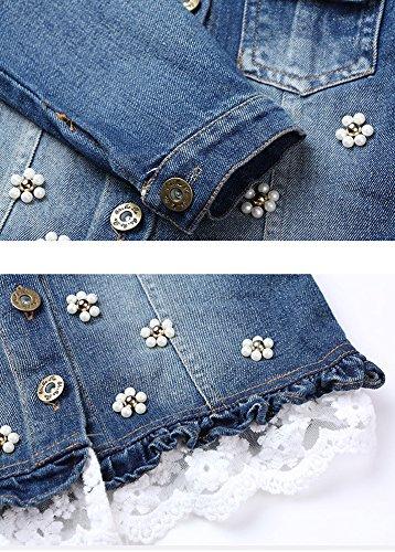 NABER Kids Girls Princess Cowboy Single Breasted Denim Jacket Shirts Age 3-12 Y