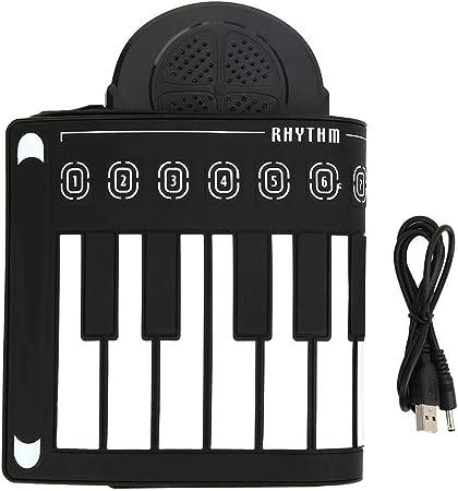 Teclado de piano enrollable de 49 teclas, teclado de piano de silicona suave plegable para niños y adultos