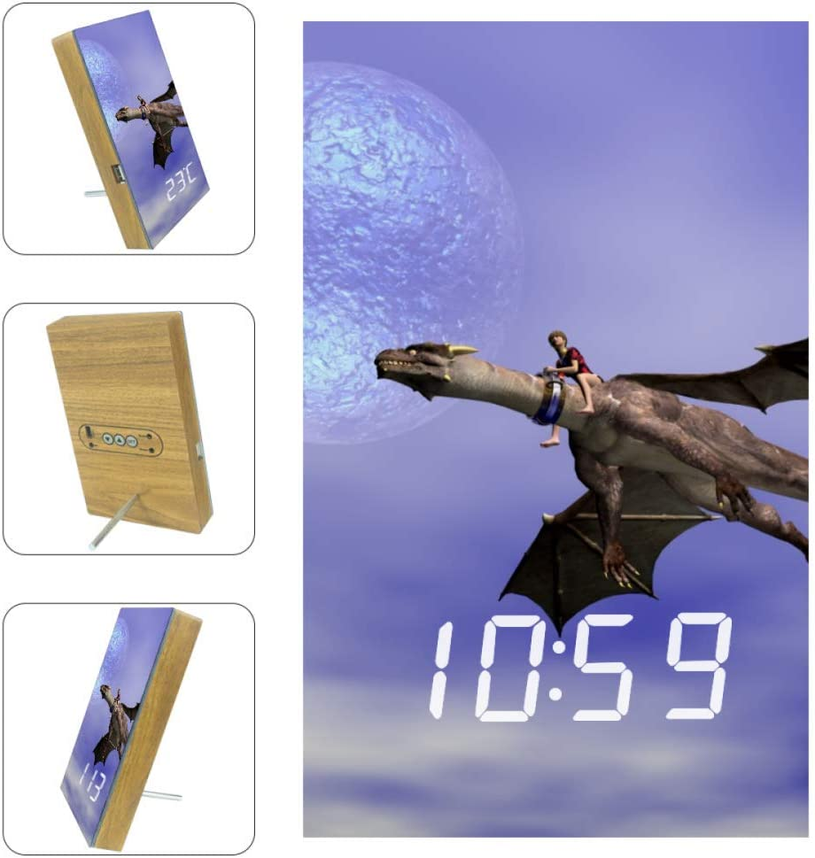 Vockgeng Les astronautes R/éveil num/érique LED avec Date de Port de Chargement USB et Fonction de Commande vocale adapt/é aux Enfants et aux Adultes 16x9.8x2.2 cm